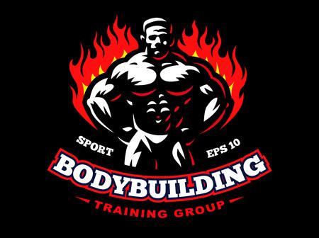 Bodybuilder Emblem Design Illustration On Dark Background Vector