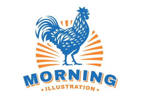 Cock emblem design illustration on light background