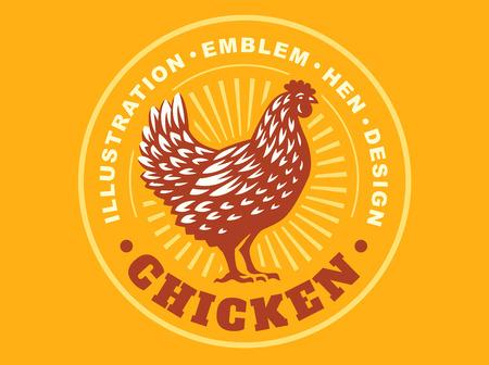 chicken illustration emblem on yellow background Illustration