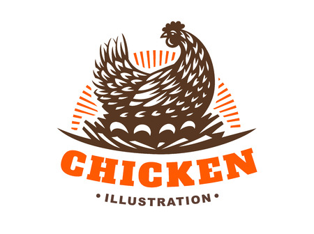 Hen incubates the eggs illustration emblem on white background