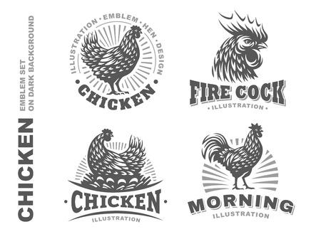 Set chicken illustration emblem on white background