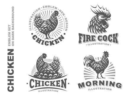 Set chicken illustration emblem on white background