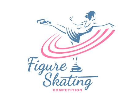 pirouette: Figure Skating emblem illustration on white background