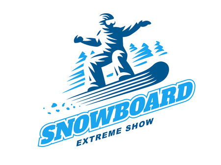 Snowboarding emblem Illustration man on white background Illustration