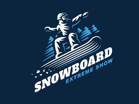 Snowboard emblema illustrazione uomo su sfondo scuro Vettoriali