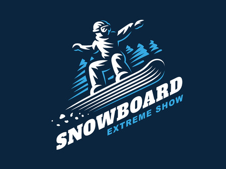 Snowboarding emblem Illustration man on dark background Иллюстрация