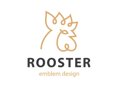 Rooster head logo - vector illustration