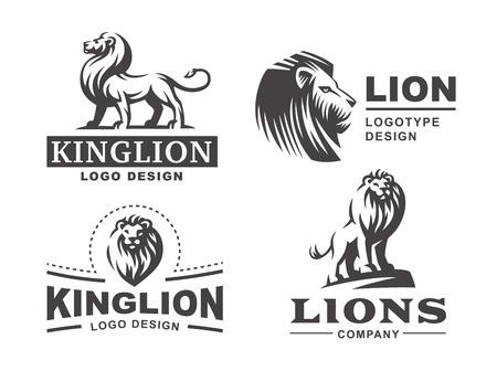Lion logo set - ilustración vectorial, el diseño del emblema Foto de archivo - 69363465