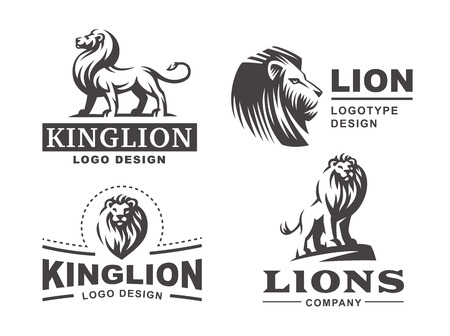 Lion logo set - vector illustration, emblem design