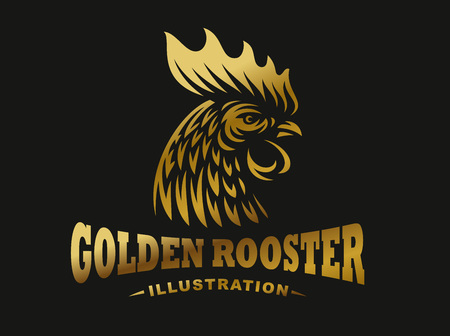 Golden rooster illustration emblem, logo on dark background