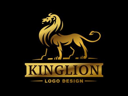 ゴールド ライオン ロゴ - ベクトル図では、黒い背景とエンブレム デザイン  イラスト・ベクター素材