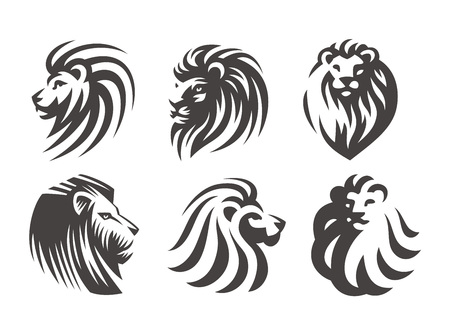 Lion head logo set - vector illustrations, emblem design on white background  イラスト・ベクター素材