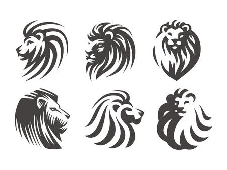 Lion head logo set - vector illustrations, emblem design on white background Stock Illustratie