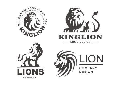 Lion logo set - vector illustration, emblem design on white background
