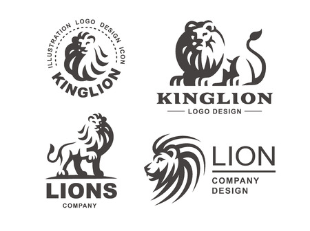 Lion logo set - vector illustration, emblem design on white background