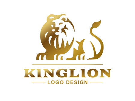 Gold lion logo - vector illustration, emblem design on white background