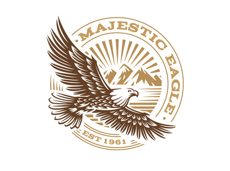 Eagle logo - vector illustration, emblem on white background Çizim