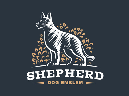 canine: Shepherd dog logo - vector illustration