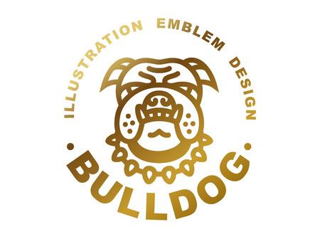 logotipo de la cabeza del dogo - ilustración vectorial, emblema de oro