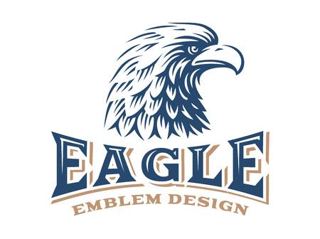 Eagle hoofd logo - vector illustratie op een witte achtergrond Stock Illustratie