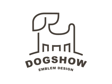 Dog head logo - vector illustration, emblem on white background