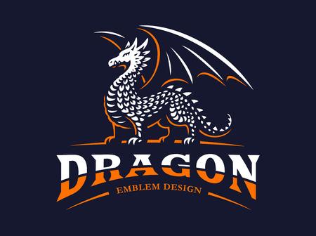 Dragon logo - vectorillustratie, embleem op donkere achtergrond