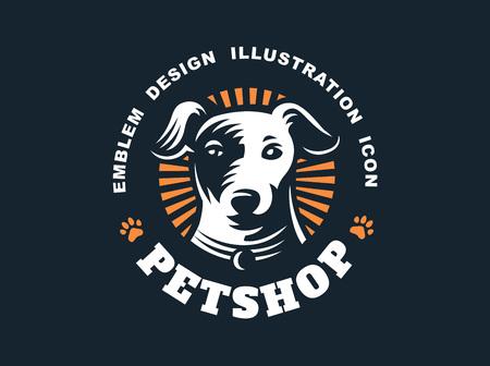 Dog head logo - vector illustration, emblem on dark background