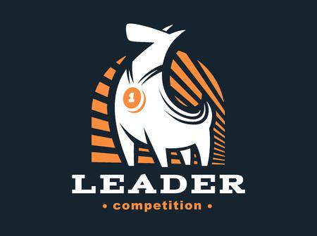 hardy: Winner dog logo - vector illustration, emblem on dark background