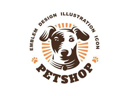 Hond hoofd logo - vector illustratie, embleem op witte achtergrond