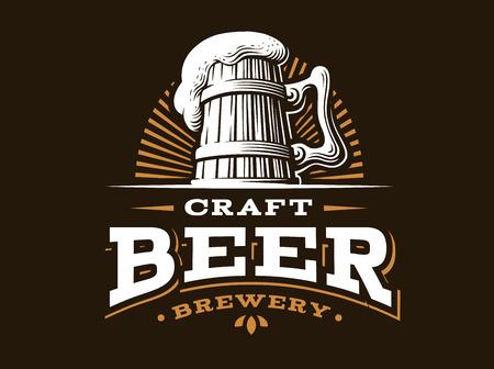 cerveza del arte de la ilustración de la insignia del vector, diseño del emblema fábrica de cerveza en el fondo oscuro