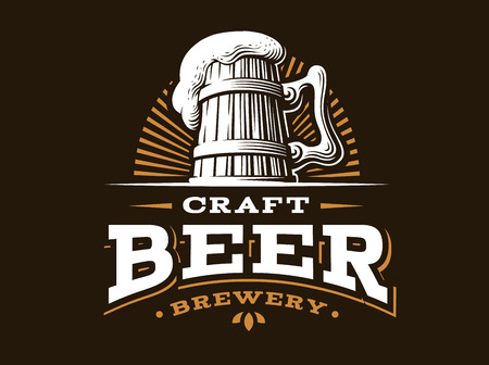 Craft beer logo- vector illustration, emblem brewery design on dark background 向量圖像