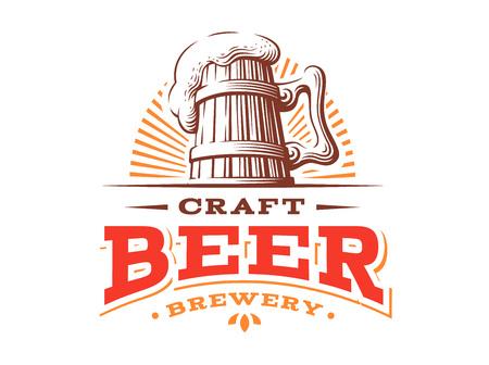 Houten bier mok logo-vectorillustratie, embleem brouwerij ontwerp op witte achtergrond Stock Illustratie