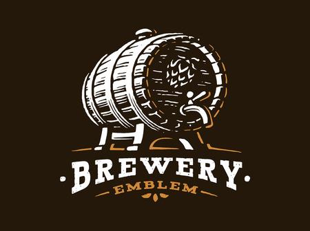 Madera logotipo barril de cerveza - ilustración vectorial, diseño emblema fábrica de cerveza en el fondo negro
