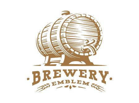 Logo di legno del barilotto di birra - vector l'illustrazione, progettazione della fabbrica di birra dell'emblema su fondo bianco Logo