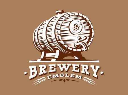 Wooden beer barrel logo - vector illustration, emblem brewery design on brown background