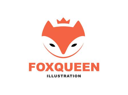 Fox queen flat logo - vector illustration, emblem design on white background