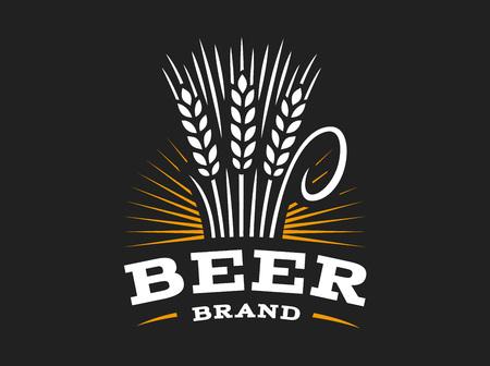 Beer wheat logo - vector illustration, ear emblem design on black background
