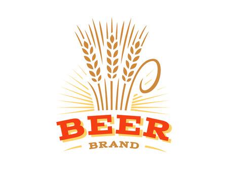 Beer wheat logo - vector illustration, ear emblem design on white background Illustration