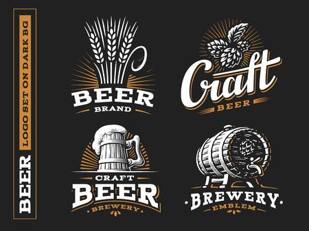 Set beer logo - vector illustration, emblem brewery design on black background