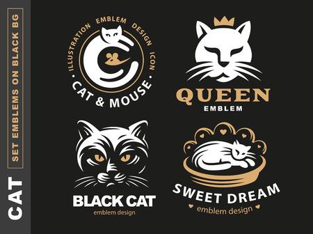 Stel de kat van de embleemillustratie, embleemontwerp op zwarte achtergrond Stock Illustratie