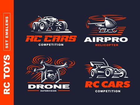 RC speelgoed vervoer logo set - vector illustratie, embleem ontwerp op zwarte achtergrond