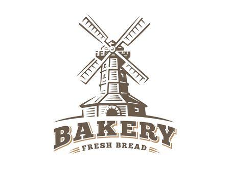 Windmill logo - vector illustration. Bakery emblem design on white background Stock Vector - 71990346