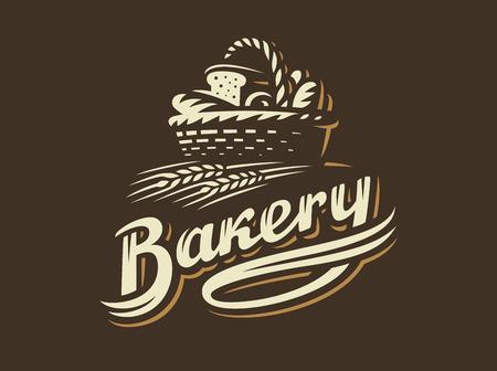 パンかごロゴ - ベクトルの図。暗い背景にベーカリー エンブレム デザイン