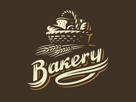 Bread basket logo - vector illustration. Bakery emblem design on dark background