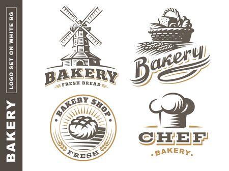 Set bread logo - vector illustration. Bakery emblem design on white background
