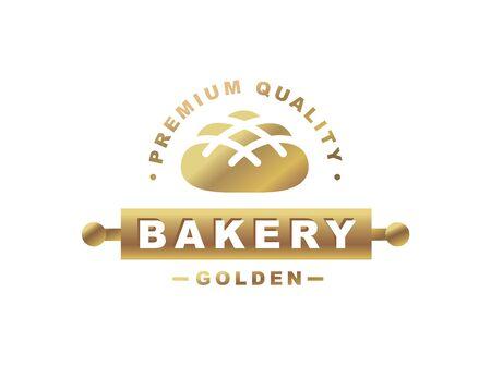 Golden bread   - vector illustration. Bakery emblem design on white background
