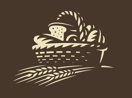 Icône de panier de pain - illustration vectorielle. Dessin d'emblème de boulangerie sur fond sombre