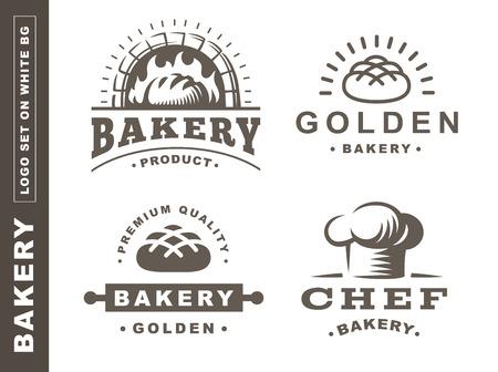 Définir le logo de pain - illustration vectorielle. Conception d'emblème de boulangerie sur fond blanc