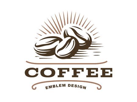 Koffieboon logo - vectorillustratie, embleemontwerp op witte achtergrond