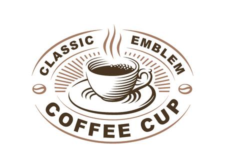 커피 컵 로고 - 벡터 일러스트 레이 션, 흰색 배경에 엠 블 렘 디자인
